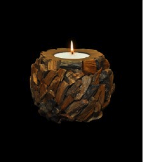 Large Round Ball Carved Teak Wood Candle